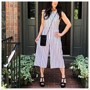 Pants - PARIS White and Black striped jumpsuit